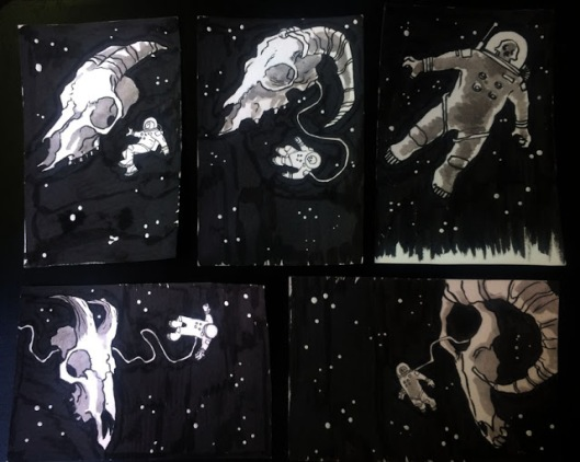 SKULLS IN SPACE POSTCARDS